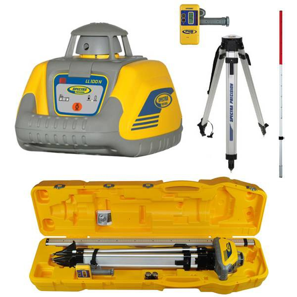PROMOTION! Rotation laser level set LL100N-5 with high drop protection, high speed receiver HR320, Al tripod and 2,4 m rod, all set in plastic case! CALIBRATED!. cnt. 875.00 €