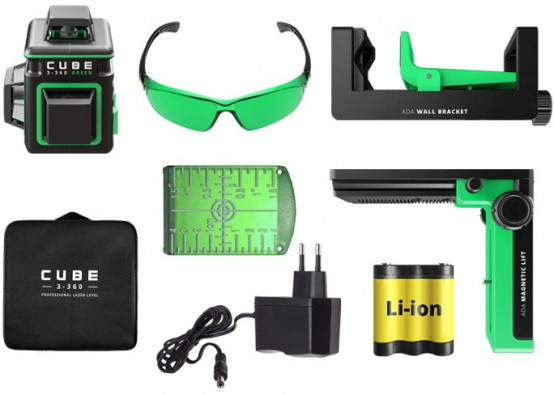 Laser level ADA CUBE 3-360 GREEN Home Edition. CALIBRATED!. cnt. 345.00 €